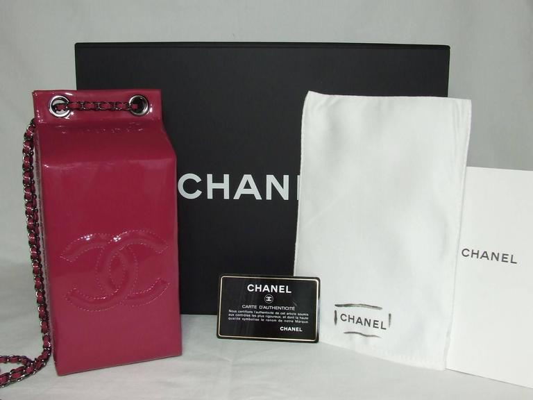 CHANEL Milk Bottle Bag Pink Patent Leather Limited Edition Full Set 10
