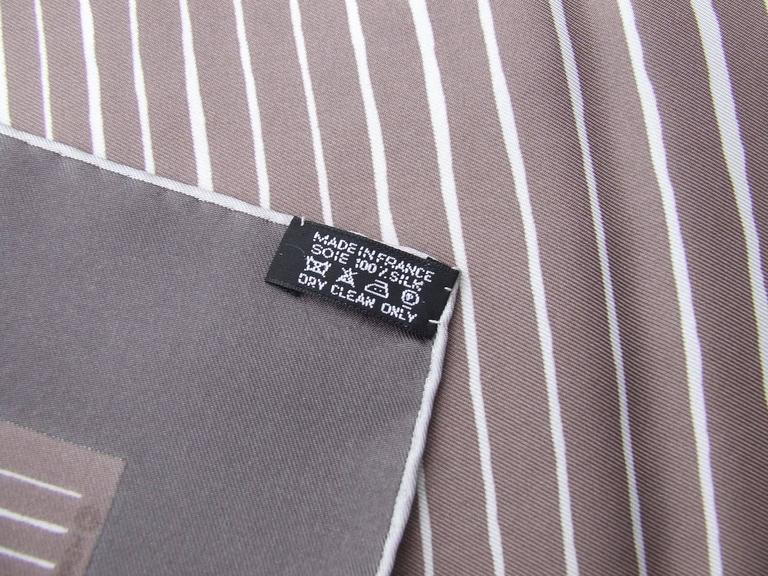 Gray Hermes Silk Scarf Mediterranee Etoupe Brown White 90 cm For Sale