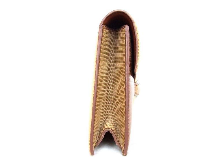 Hermes Faco Elan Clutch Purse Handbag Tri Color Lizard Skin + Mirror RARE 4
