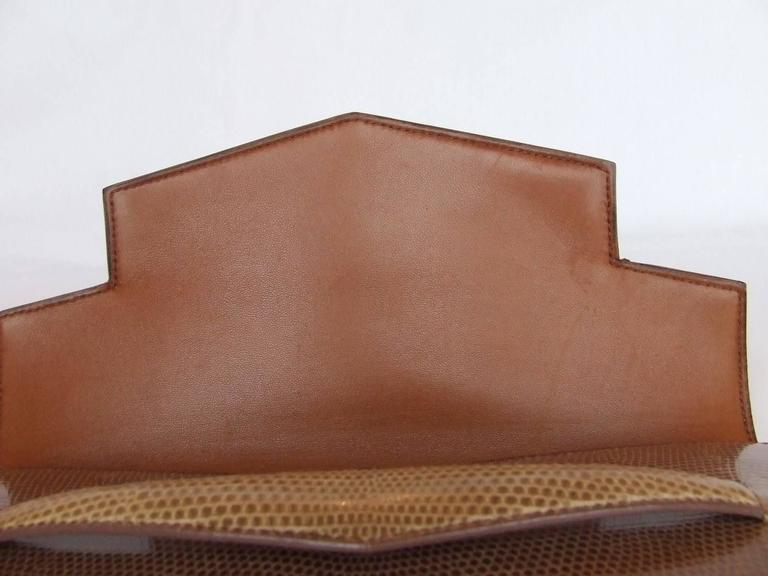 Hermes Faco Elan Clutch Purse Handbag Tri Color Lizard Skin + Mirror RARE 5
