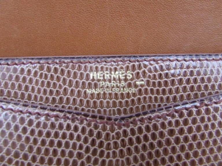 Hermes Faco Elan Clutch Purse Handbag Tri Color Lizard Skin + Mirror RARE 6