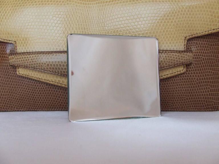 Hermes Faco Elan Clutch Purse Handbag Tri Color Lizard Skin + Mirror RARE 8