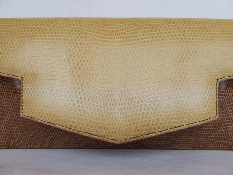 Hermes Faco Elan Clutch Purse Handbag Tri Color Lizard Skin + Mirror RARE 9
