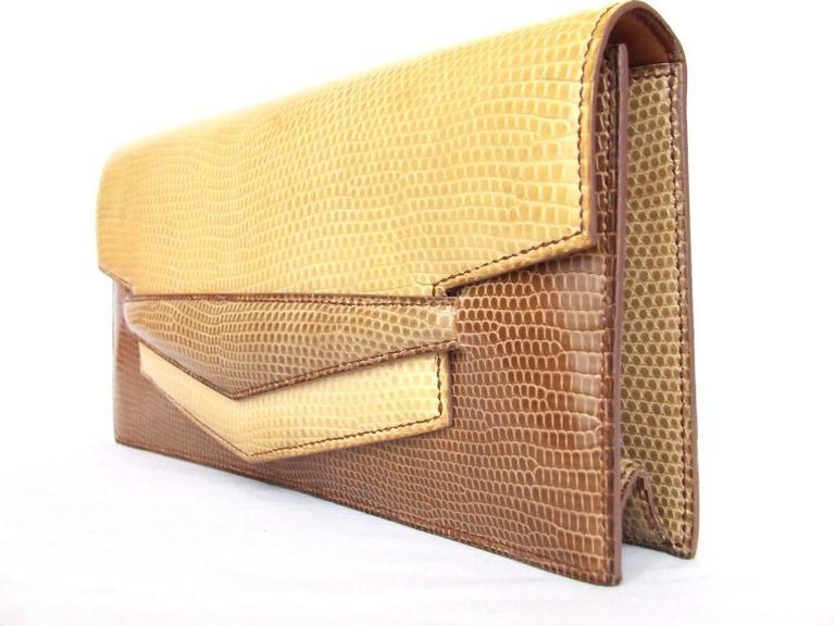 Hermes Faco Elan Clutch Purse Handbag Tri Color Lizard Skin + Mirror RARE 10