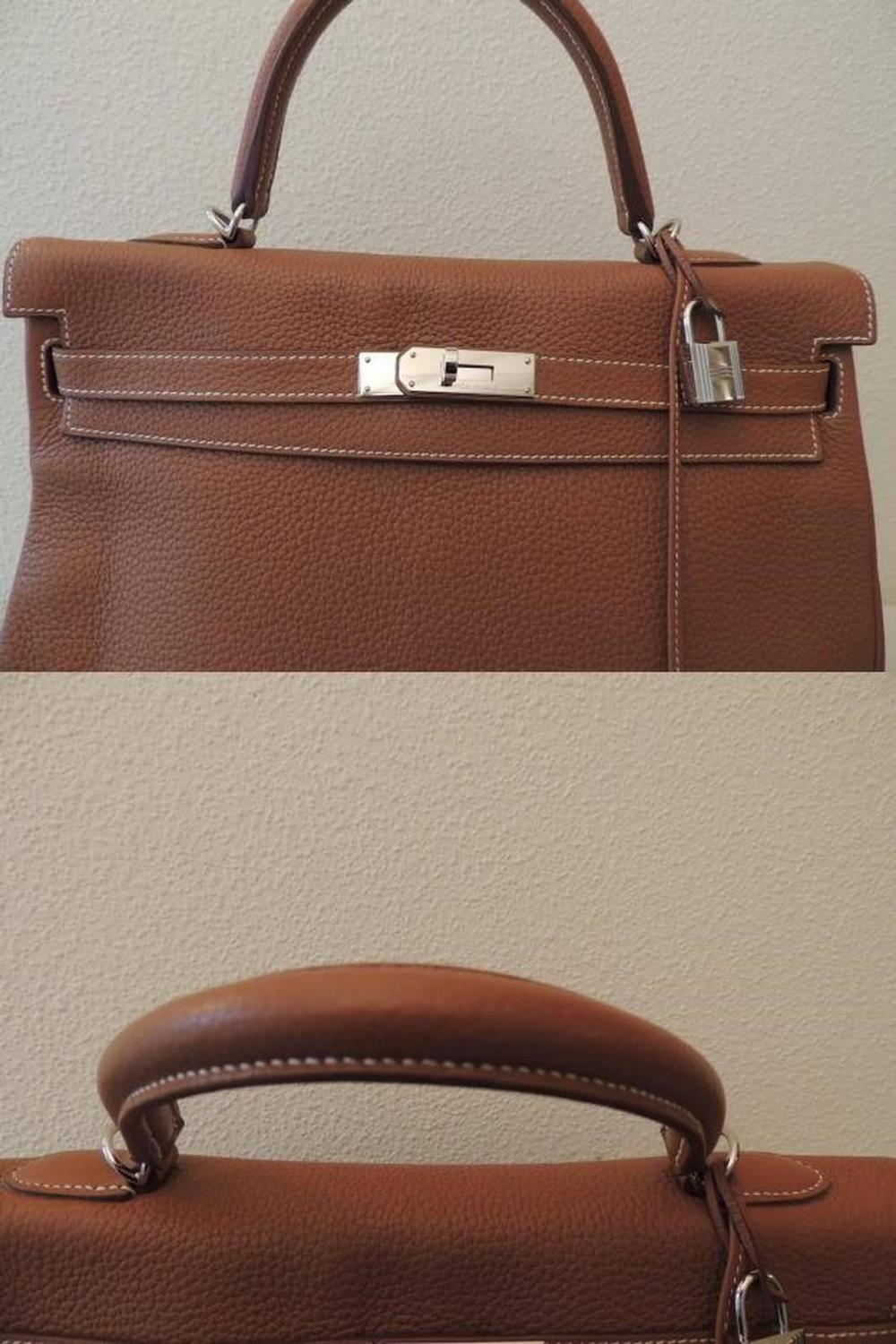 Hermes Kelly 35 Handle Bag Gold Clemence Leather PHW Full Set at ...