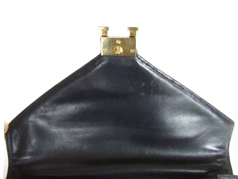 Hermes Lydie Bag Clutch Purse Black Crocodile Gold Hdw With Silk Scarf 2