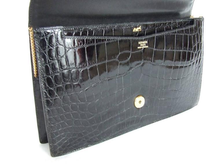 Hermes Lydie Bag Clutch Purse Black Crocodile Gold Hdw With Silk Scarf 3