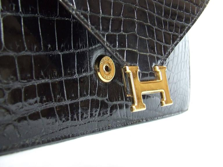 Hermes Lydie Bag Clutch Purse Black Crocodile Gold Hdw With Silk Scarf 4