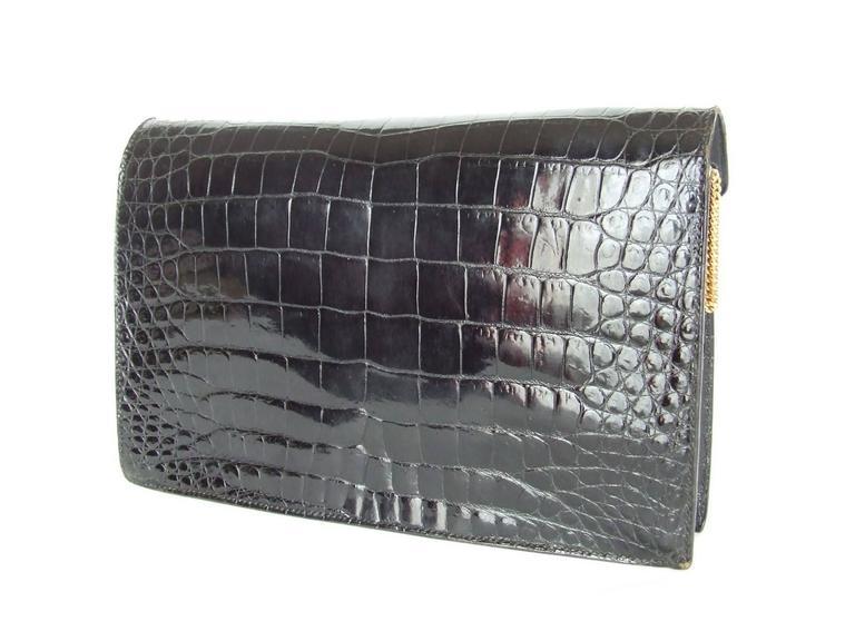 Hermes Lydie Bag Clutch Purse Black Crocodile Gold Hdw With Silk Scarf 5