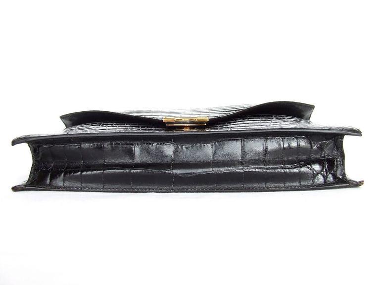 Hermes Lydie Bag Clutch Purse Black Crocodile Gold Hdw With Silk Scarf 6