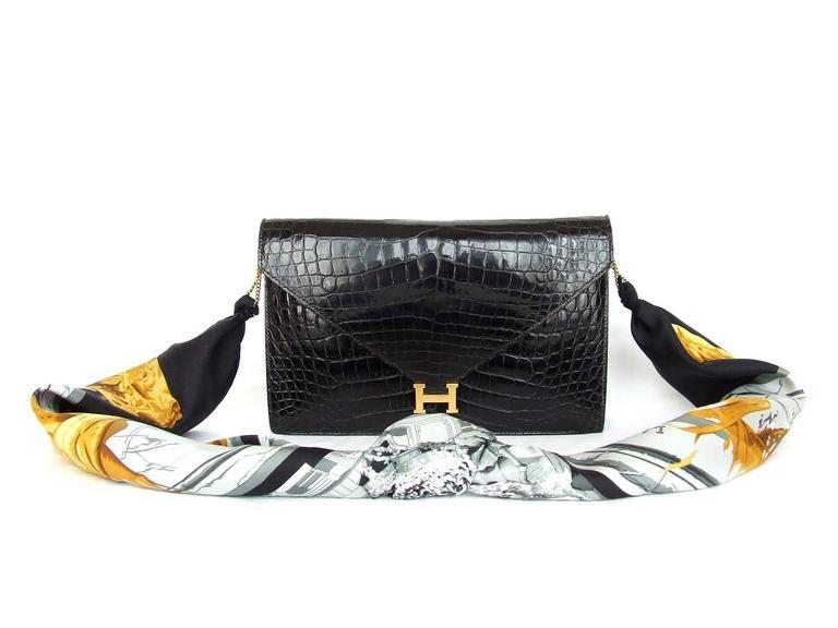 Hermes Lydie Bag Clutch Purse Black Crocodile Gold Hdw With Silk Scarf 10