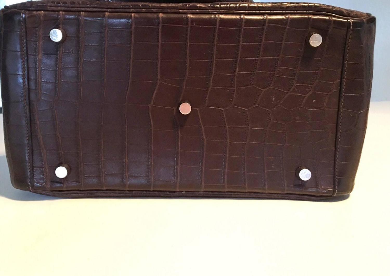 hermes bag - Hermes Lindy Handbag Brown Crocodile Niloticus PHW 30 cm at 1stdibs