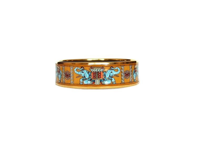 Hermes Enamel Printed Bracelet Torana Elephants Yellow GHW PM 65 2