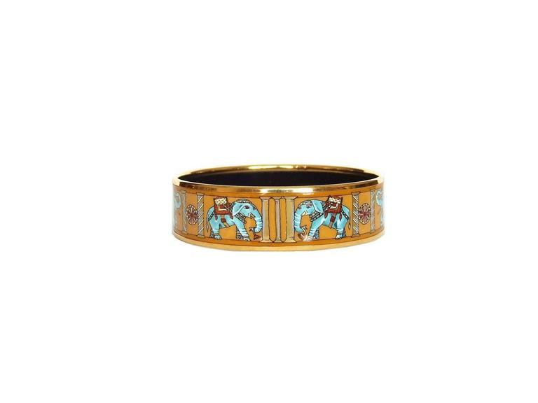 Hermes Enamel Printed Bracelet Torana Elephants Yellow GHW PM 65 In Excellent Condition For Sale In ., FR