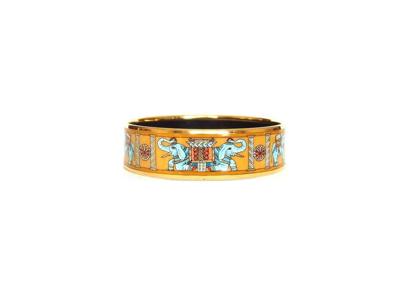 Hermes Enamel Printed Bracelet Torana Elephants Yellow GHW PM 65 4
