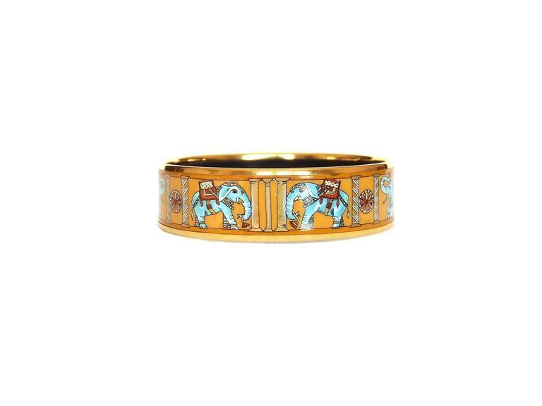 Hermes Enamel Printed Bracelet Torana Elephants Yellow GHW PM 65 5