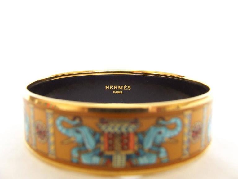 Hermes Enamel Printed Bracelet Torana Elephants Yellow GHW PM 65 6
