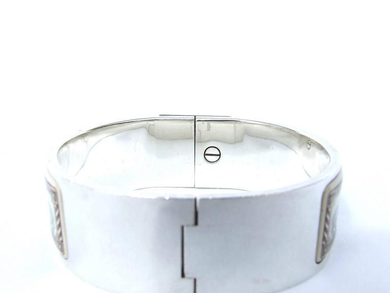 hermes clic clac enamel printed bracelet greyhounds size. Black Bedroom Furniture Sets. Home Design Ideas