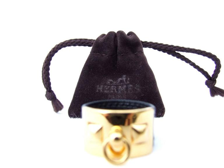 Hermes Collier de Chien CDC Medor Ring Black Leather Gold Hdw Size L  In Excellent Condition For Sale In ., FR