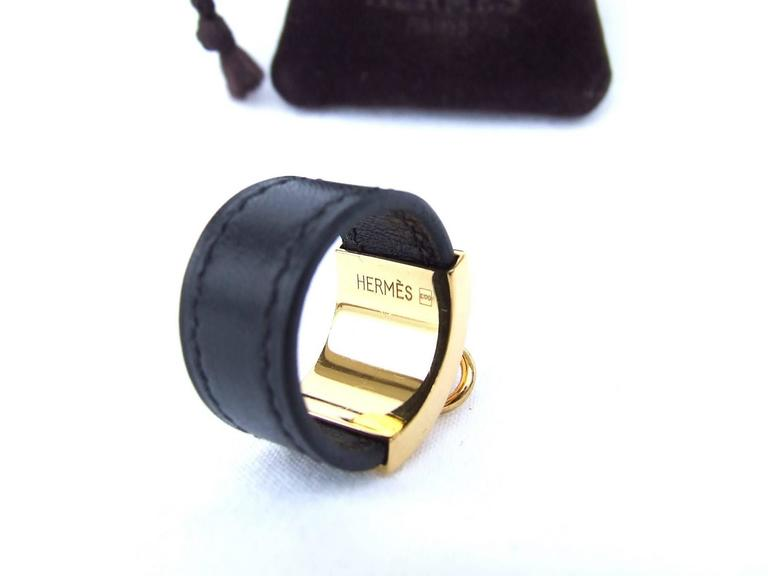Women's Hermes Collier de Chien CDC Medor Ring Black Leather Gold Hdw Size L  For Sale