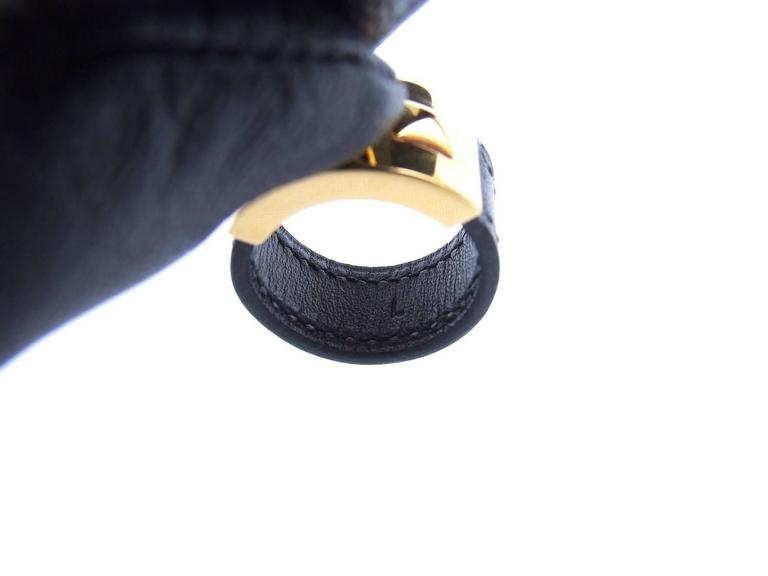Hermes Collier de Chien CDC Medor Ring Black Leather Gold Hdw Size L  For Sale 1