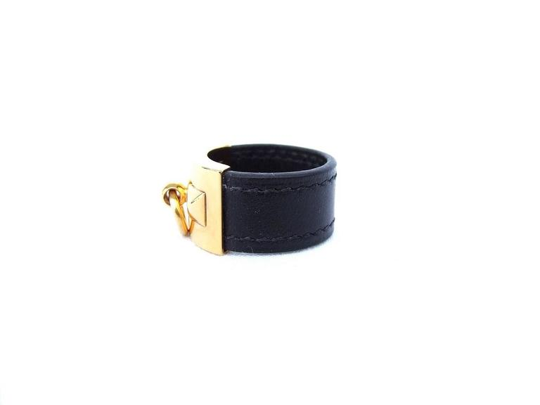 Hermes Collier de Chien CDC Medor Ring Black Leather Gold Hdw Size L  For Sale 2
