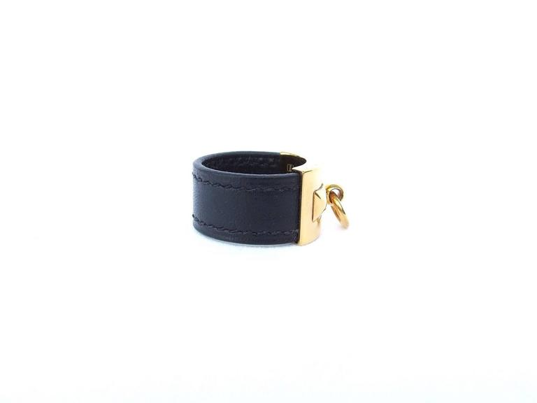 Hermes Collier de Chien CDC Medor Ring Black Leather Gold Hdw Size L  For Sale 3