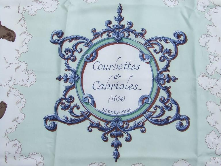Hermes Silk Scarf Courbettes et Cabrioles 1654 Horses Blue Green 90 cm In Excellent Condition For Sale In ., FR