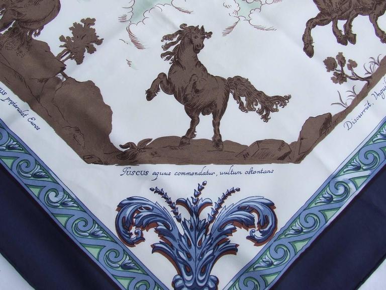 Women's Hermes Silk Scarf Courbettes et Cabrioles 1654 Horses Blue Green 90 cm For Sale