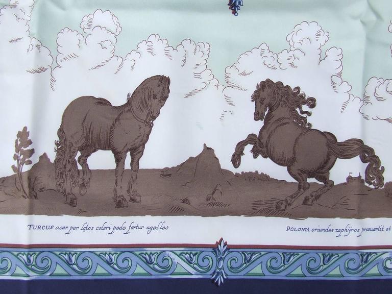 Hermes Silk Scarf Courbettes et Cabrioles 1654 Horses Blue Green 90 cm For Sale 2