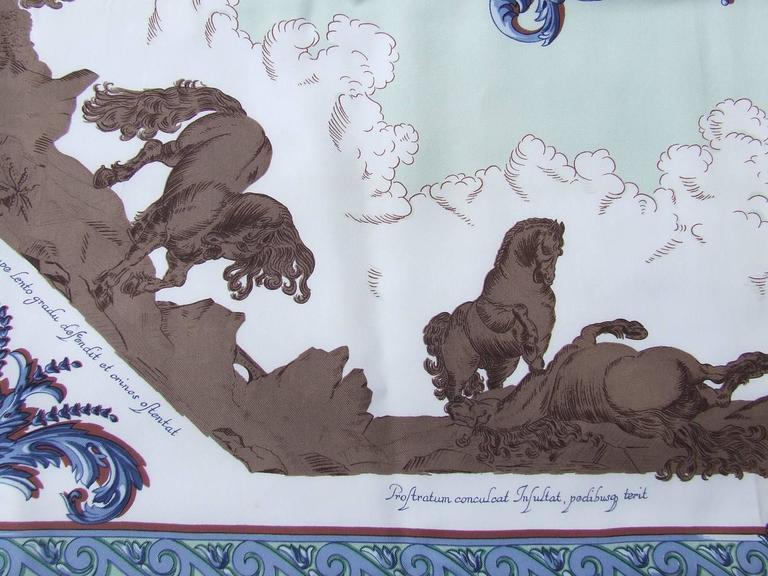 Hermes Silk Scarf Courbettes et Cabrioles 1654 Horses Blue Green 90 cm For Sale 3
