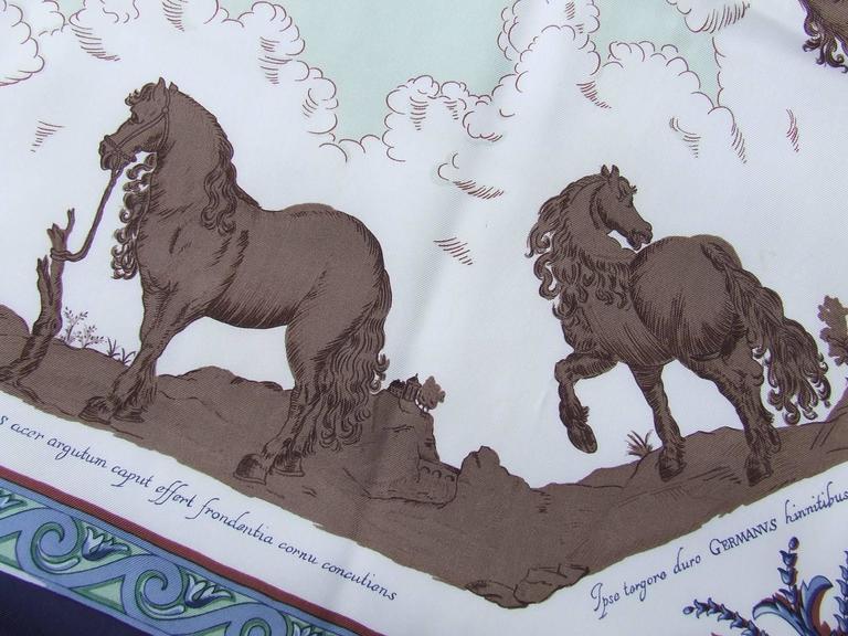 Hermes Silk Scarf Courbettes et Cabrioles 1654 Horses Blue Green 90 cm For Sale 4