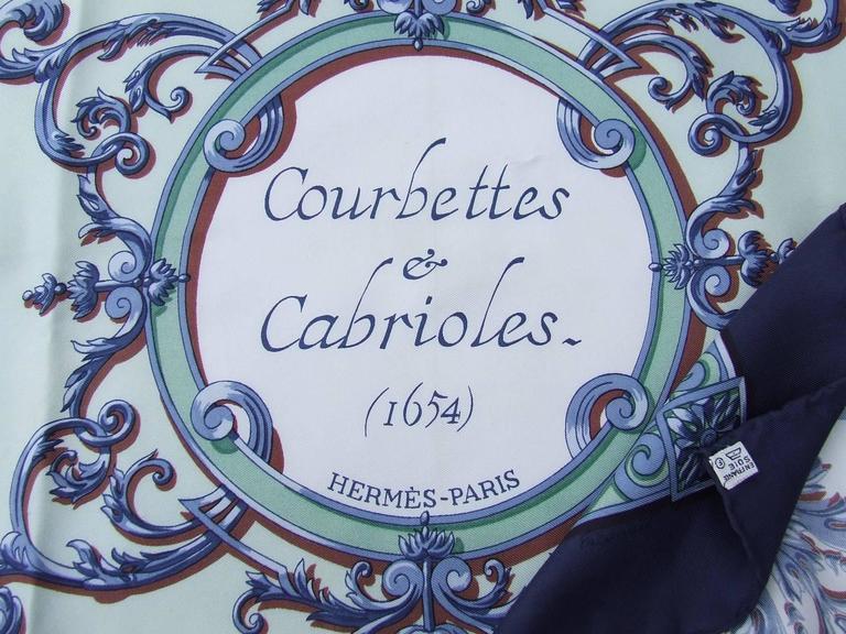 Hermes Silk Scarf Courbettes et Cabrioles 1654 Horses Blue Green 90 cm For Sale 5