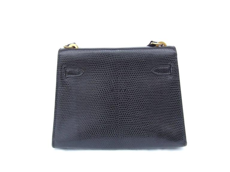 Exceptional Hermes Mini Kelly 20 cm Bag 2 Ways Black Lizard GHW RARE In Good Condition For Sale In ., FR