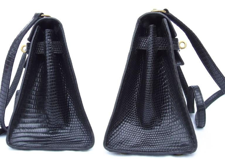 Women's Exceptional Hermes Mini Kelly 20 cm Bag 2 Ways Black Lizard GHW RARE For Sale