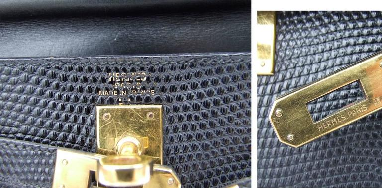 Exceptional Hermes Mini Kelly 20 cm Bag 2 Ways Black Lizard GHW RARE For Sale 4