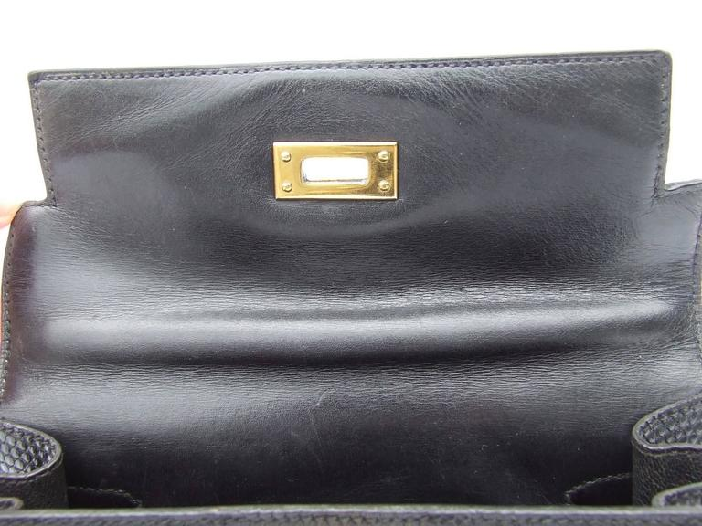 Exceptional Hermes Mini Kelly 20 cm Bag 2 Ways Black Lizard GHW RARE For Sale 5