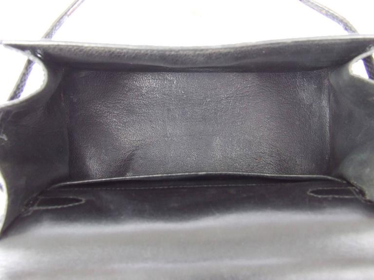 Exceptional Hermes Mini Kelly 20 cm Bag 2 Ways Black Lizard GHW RARE For Sale 6