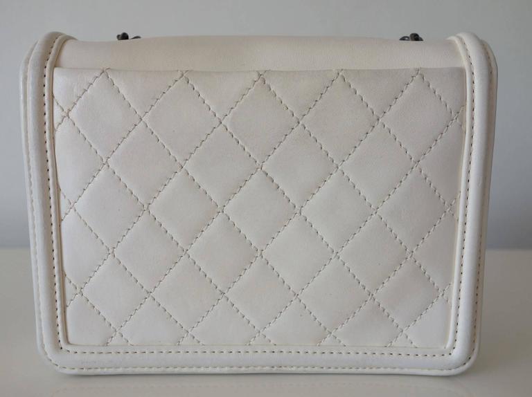 Chanel Boy Brick Lego Flap Bag White Leather 2 ways RARE 2