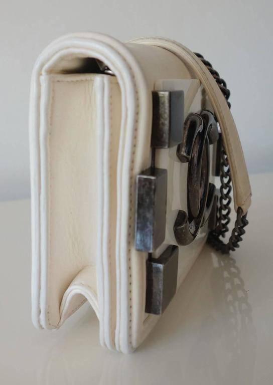 Chanel Boy Brick Lego Flap Bag White Leather 2 ways RARE 3