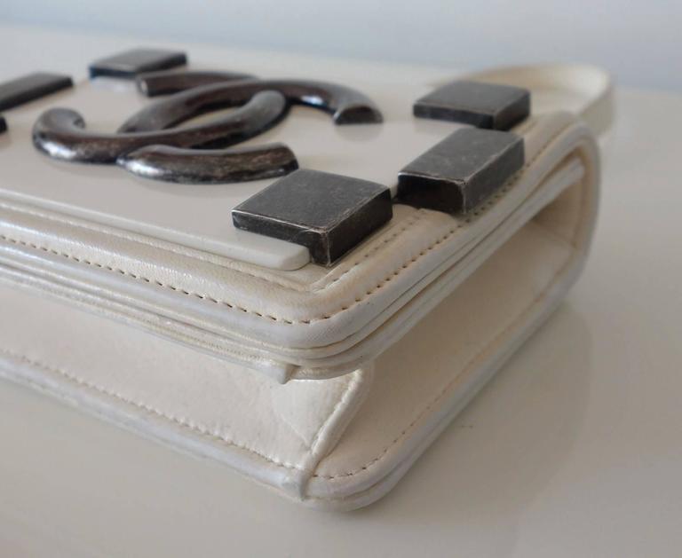 Chanel Boy Brick Lego Flap Bag White Leather 2 ways RARE 4