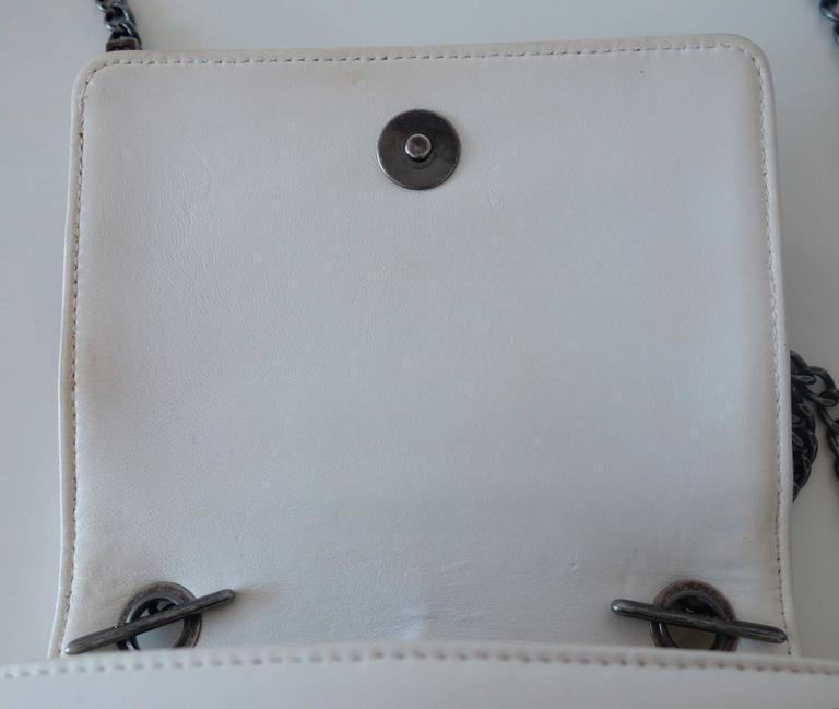 Chanel Boy Brick Lego Flap Bag White Leather 2 ways RARE 6