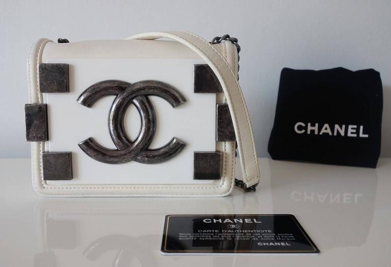 Chanel Boy Brick Lego Flap Bag White Leather 2 ways RARE 9