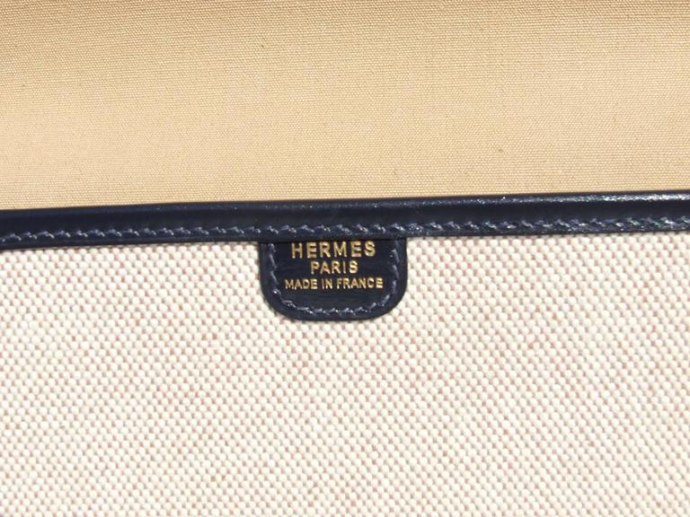 HERMES Vintage and Rare Handbag 2 ways Toile Canvas Leather  5
