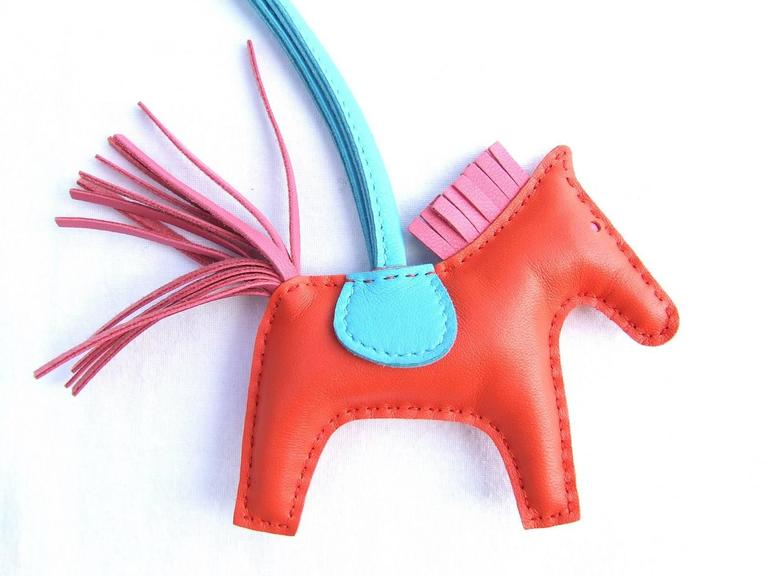 c359975753 Pink Hermes Grigri Rodeo Horse Kelly Birkin Bag Charm Orange Rose Bleu PM  For Sale