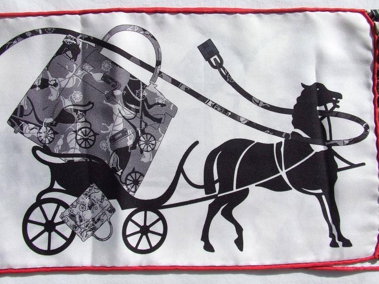 Gray Hermes Silk Scarf Fringed Stole Kelly En Caleche White Black Grey For Sale