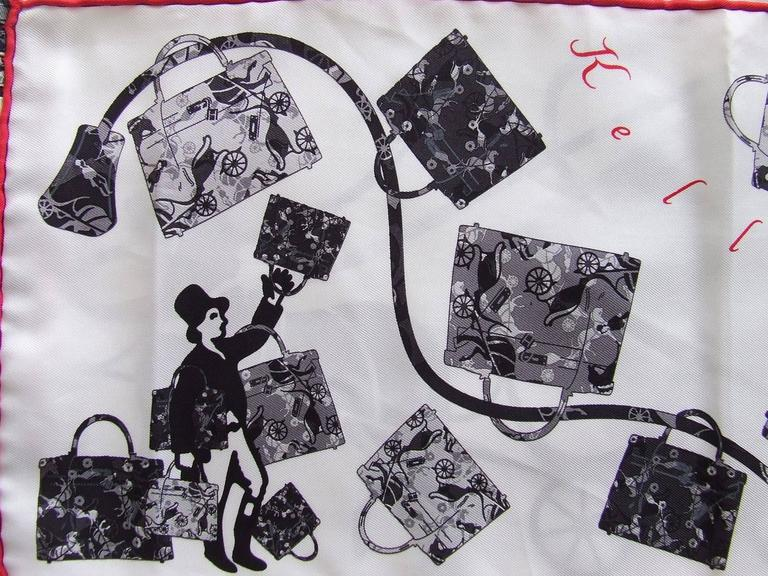 Hermes Silk Scarf Fringed Stole Kelly En Caleche White Black Grey For Sale 1