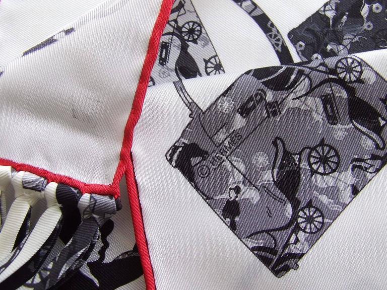 Hermes Silk Scarf Fringed Stole Kelly En Caleche White Black Grey For Sale 3