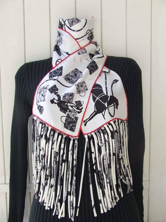 Hermes Silk Scarf Fringed Stole Kelly En Caleche White Black Grey For Sale 4