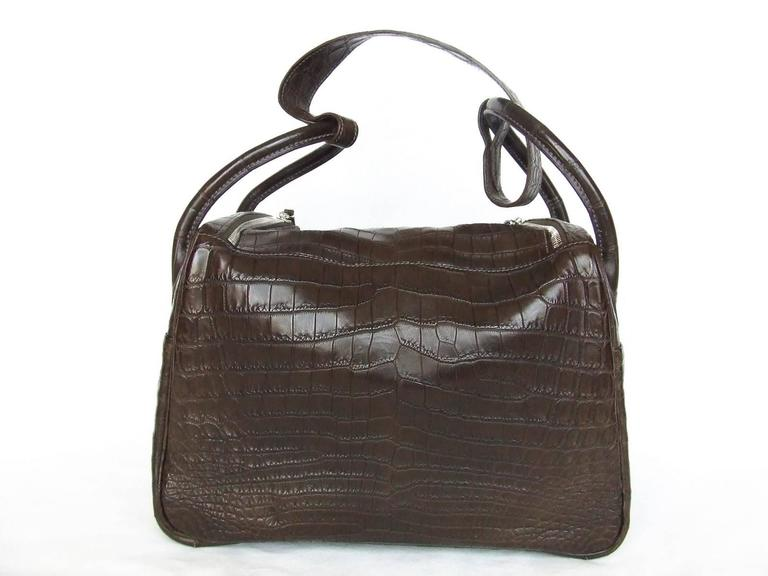 Exceptionnal Hermes Lindy Handbag Brown Matte Crocodile Niloticus PHW 30 cm 2